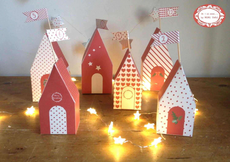 Advent Calendar Village Diy : Printable advent calendar diy christmas village gift boxes