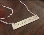 Roman Numeral Necklace, Personalized, Monogram, Charm, Gold Filled Chain, Sterling Silver, Bar Necklace, Weddings, Gift, Handmade Jewelry