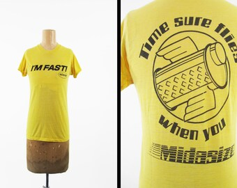 Vintage 80s Midas Auto T-shirt Yellow Paper Thin Auto Shop Tee - Small / XS