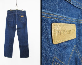 Vintage 70s Maverick Denim Jeans Dark Wash Indigo Made in USA Straight Leg - 34 x 32