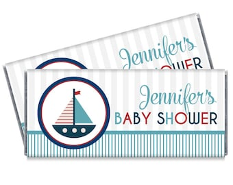 Nautical Baby Shower Candy Bar Wrappers - Nautical Boat Baby Shower Favors - Set of 12