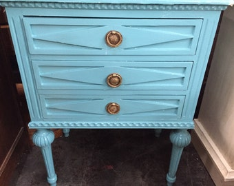 Side table. Robin egg blue sidetable. Vanity space. Bohemian decor