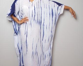 Kaftan Dress / Tie Dye Summer Dress/ Summer Tunic / White and Blue Dress : Shibori Collection