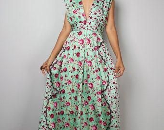 Floral Dress - Sleeveless Summer Dress  - Boho Maxi Dress : Oriental Secrets Collection