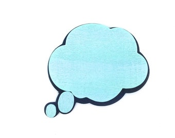 """2 You've got me Thinking - Thought Bubble Wood Shape Cutouts 4"""" x 4.5 x 5mm - Painted Wood speech bubble. Thinking of you Wood Idea bubble"""