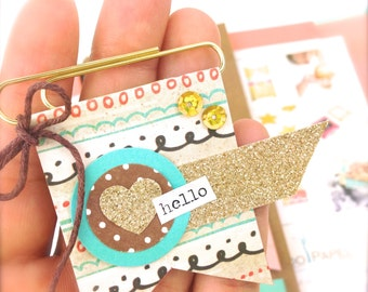 Hello Paper Flag Banner Clip | Planner Clip & Accessories - Novelty Paper Clips Gold Heart Banner Paper Clip - Hello Paper Banner Bookmark