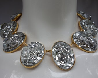 YSL Yves Saint Laurent by Goossens Couture Clear Rock Choker w/matching Earrings