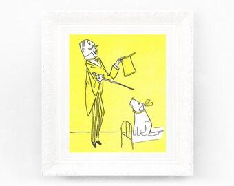 7x8 Vintage Madeline Print. Original French Book Plate Illustration Dog Genevive Old Man Rescue. France Paris Ludwig Bemelmans