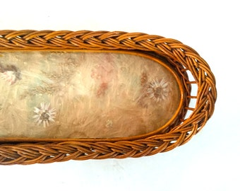 Vintage wicker tray