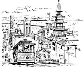 San Francisco City Scene - Digital Image - Vintage Art Illustration - Instant Download