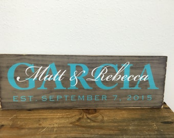 Personalized family sign - distressed - couple wedding gift - family last name, first names and established date LR-097