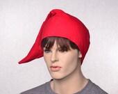 Cotton Flannel Night Cap Red Union Suit Nightcap Adult Mens Women's Sleep Hat Traditional Pointed Poor Poet ® Sleeping Cap