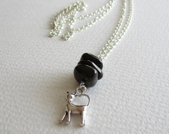 Jet gemstone charm necklace - protection, anti-nightmare, luck, health