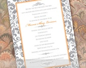 wedding invitations, thank you cards, tangerine and silver damask wedding invitations, orange and gray wedding, pink and gray bride, IN434