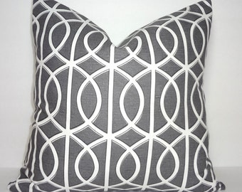 Robert Allen Dwell Studio Geometric Grey Pillow Cover Decorative Throw Pillow Cover 18x18