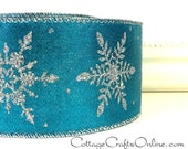 """Wired Ribbon, 2 1/2"""", Turquoise Blue, Silver Glitter Snowflakes - ONE & 2/3 YARDS - Reliant #60603 """"Silver Glimmer"""" Christmas Wire Edged"""