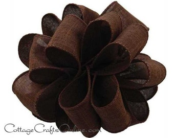 """Fall Wired Ribbon, 2 1/2"""", Chocolate Brown Faux Linen - THREE YARDS  - Offray """"Divine"""" Thanksgiving, Wedding Ribbon, Wire Edged Ribbon"""