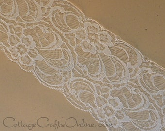 "Lace Ribbon,  3 1/2"" wide, Ivory - THREE YARDS - Offray - ""Layla"" Off-White, Bone, Sewing Trim, Embellishment, Lace Trim"