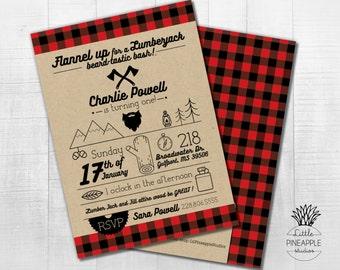 Lumberjack Beard Flannel Themed Birthday Party Invite DIY Printable