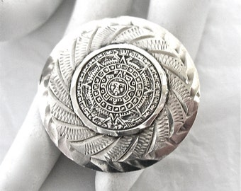 Sterling Mayan Calendar Brooch or Pendant, Aztec, silver, 1960's, mexican eagle mark, 925