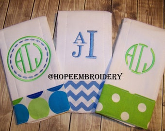 Personalized Bib, Burp Cloth Set, Monogram Burp Cloth