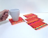 Mexican Fabric Coasters, Set of Four, Rustic Tribal - Orange Aztec Housewares, Housewarming Gift, Dining