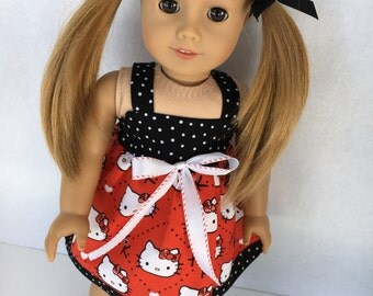 18 inch sundress made with Hello Kitty fabric, made to fit 18 inch dolls such as American Girl and similar 18 inch dolls