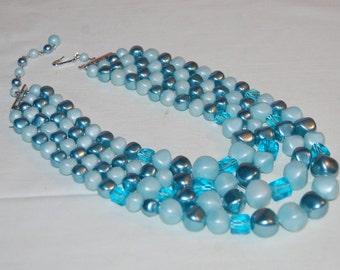 Blue Parfait 50's Plastic 3 Strand Beaded Necklace Dazzling