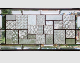 Beveled clear glass transom stained glass window panel geometric abstract stained glass panel window panel large 0164 22 1/2 x 11 1/2