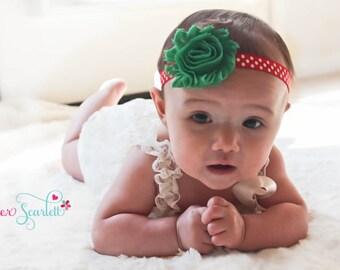 Chirstmas shabby chic flower headband, baby headband, newborn headband, baby girl headband,