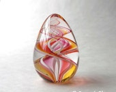 Glass Egg Paperweight Pink Yellow Swirl :  DISASTER RELIEF