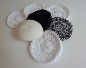 Spa Face Scrubbies - Crochet in Black and White - Set of 6