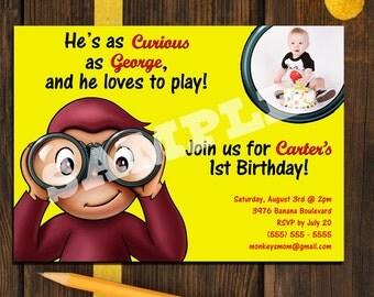 Curious George Invitation - Printable Custom Photo - 2 options Birthday