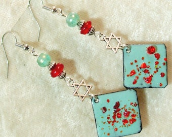 Lampwork and Enameled Metal Earrings - Aqua and Poppy Red with Star of David