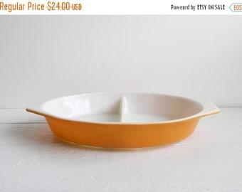 SALE Vintage Pyrex Old Orchard Divided Casserole Dish - 1 Quart 063 - Butterscotch Orange Color