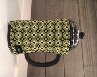 French Press Coffee Cozy in Modern Print of Lime Green Black and White .French Press Wrap in Modern Fabric Print