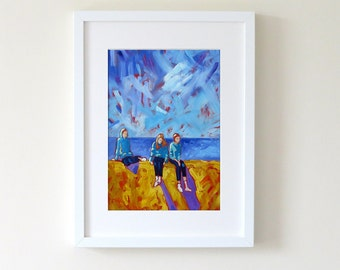 "A3 or A4 Seaside Art Print of my Original Contemporary Oil Painting. ""Three Children on a Sea Wall"""