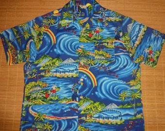 Vintage 70s Waikiki 76 surf Hula Girl Elvis Hawaiian Aloha Shirt - XL - The Hana Shirt Co