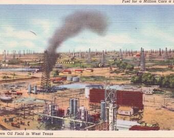 Texas, Oil Field - Linen Postcard - Unused (W)