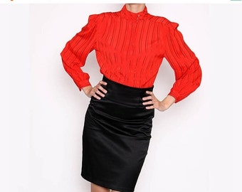 ON SALE Vintage 70s Redish Orange Long Sleeve button down Blouse / Secretary/ Librarian