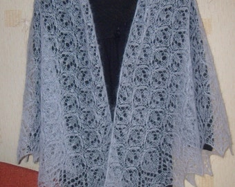 Hand knitted lace shawl kid mohair grey