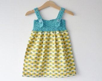 Organic baby sundress - 3 - 6 months - aqua and yellow - adjustable straps - crochet yoke - fabric skirt - organic cotton fabric and yarn