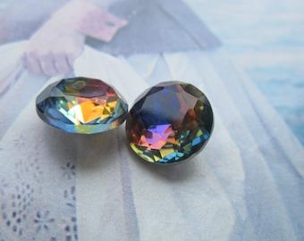 Czech 60SS  Bermuda Blue Doublet Glass Gems 4Pcs.