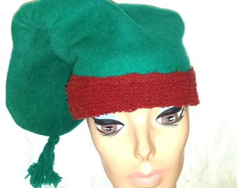 Vintage Norway Winter Ski Cap Hat Green and Red Beanie Small Woman