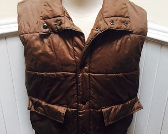 Vintage 1970s/1980s Puffy Chocolate Brown Quilted Vest- XL/Tall