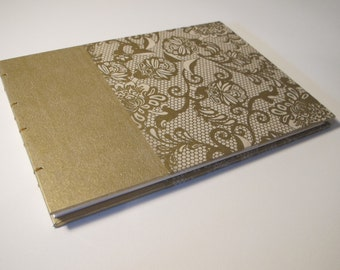 Large Gold and Ivory Guest Book: Lace Cream and Metallic Gold Wedding Guestbook