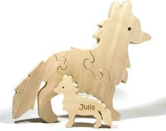 Wooden Animal Puzzle, Fox Puzzle, Waldorf Puzzle, Wood puzzle with Baby Personalized gift for children and toddlers