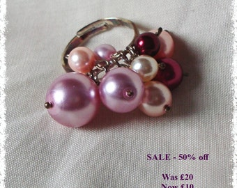 SALE - Faux Pearl Cluster Ring - Pink