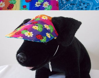 Dog visor, reversible (two fabrics), comfortable and colorful. V5   Can be personalized.