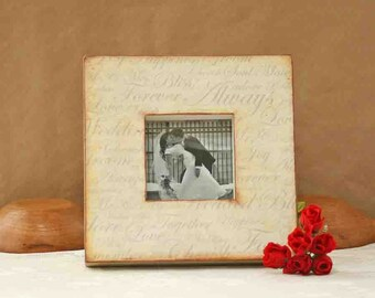wood frame, decoupage, picture frame, wedding picture frame, wedding gift, rustic chic